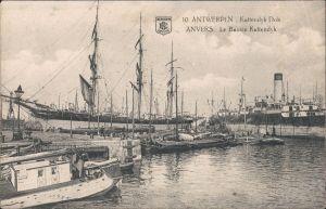 Antwerpen Anvers Le Bassin Kattendyk/Hafen, Dampfer u. Segelschiffe 1912