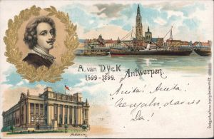 Ansichtskarte Antwerpen Anvers Hafen, Museum - A. van Dyck - Litho 4 1900