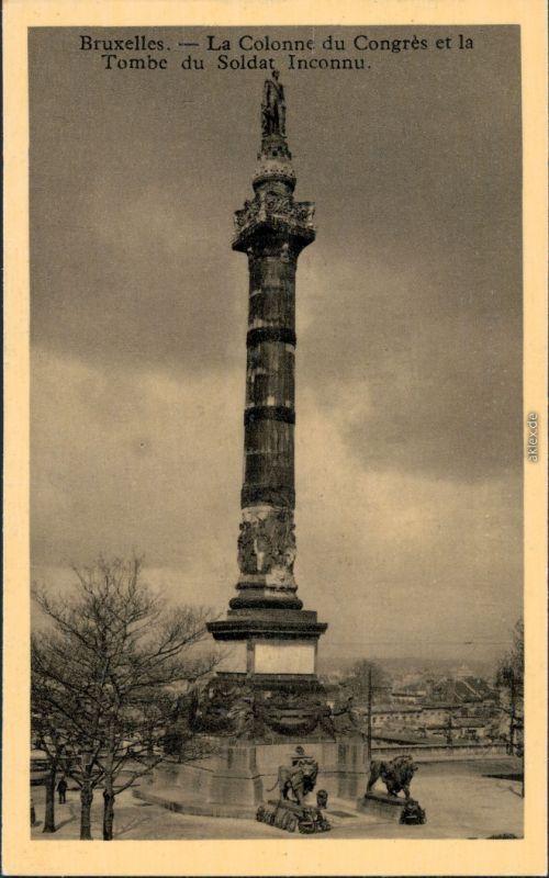Ansichtskarte Brüssel Bruxelles La collone du Congres - Tobe du Soldat 1936