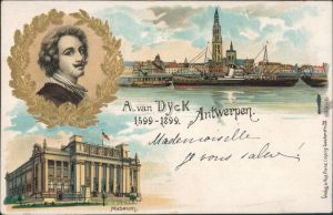 Ansichtskarte Antwerpen Anvers Hafen, Museum - A. van Dyck - Litho 1900