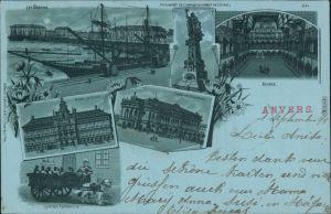 Ansichtskarte Antwerpen Anvers Litho, Hafen, Rathaus, Kurhaus xx 1899