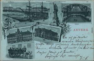 Ansichtskarte Antwerpen Anvers Litho, Hafen, Rathaus, Kurhaus 1899