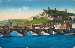 Ansichtskarte Würzburg Alte Mainbrücke mit Festung und Käppele 1914