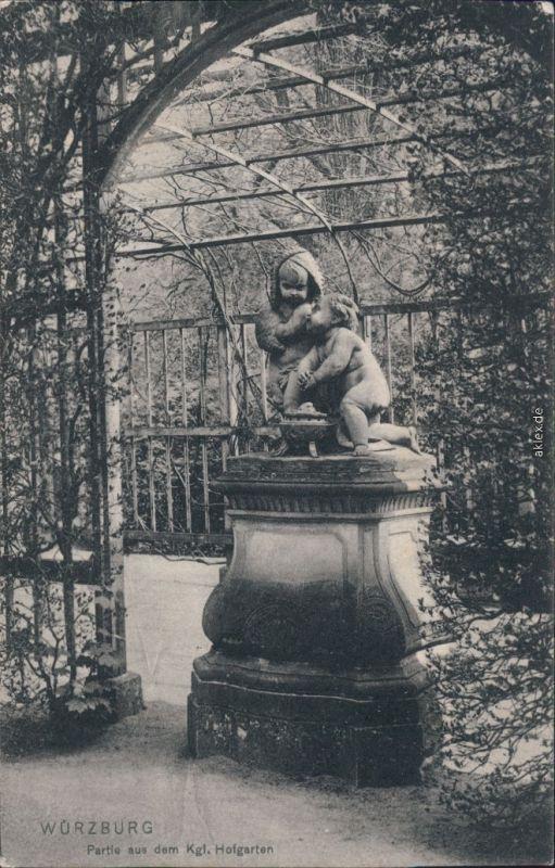 Ansichtskarte Würzburg Kgl. Hofgarten mit Statue 1912