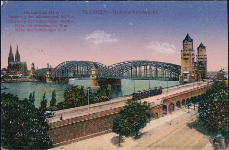 Ansichtskarte Köln Hohenzollernbrücke vv  1916
