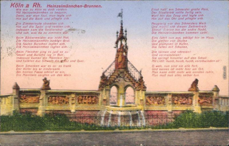Ansichtskarte Köln Heinzelmännchenbrunnen 1917