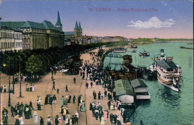 Ansichtskarte Köln Kaiser Friedrich Ufer - Anlgestelle 1916