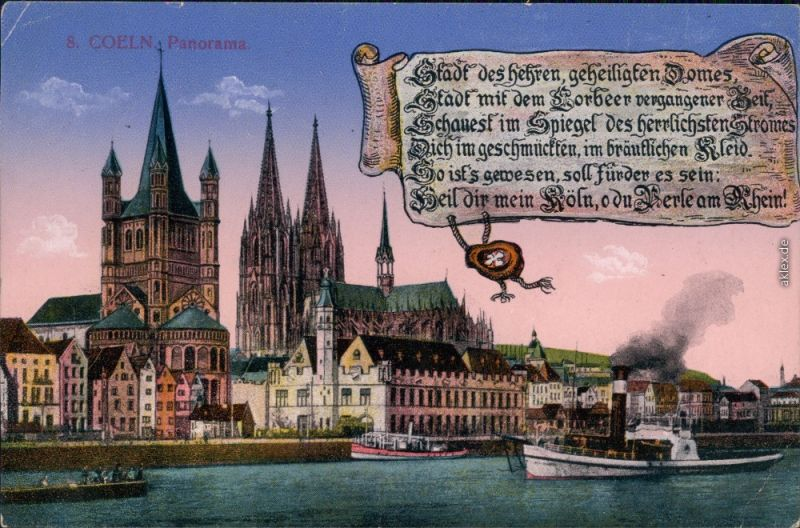Ansichtskarte Köln Dom, Kirche, Rheinufer 1917