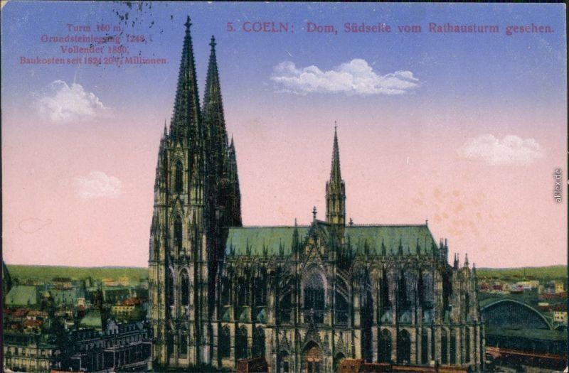 Ansichtskarte Köln Kölner Dom, Südseite vom Rathausturm aus, Morgenrot 1916