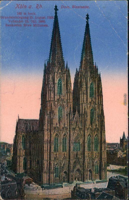 Ansichtskarte Köln Kölner Dom 1918