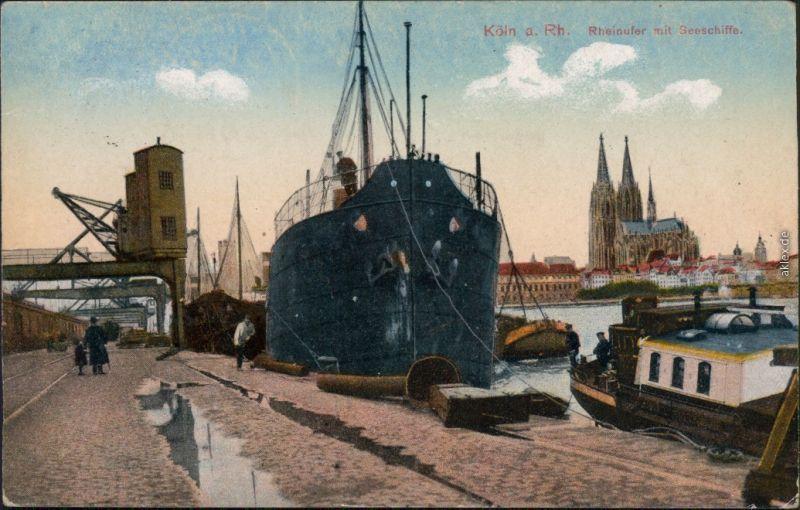 Ansichtskarte Köln Rheinufer mit Seeschiffe 1918