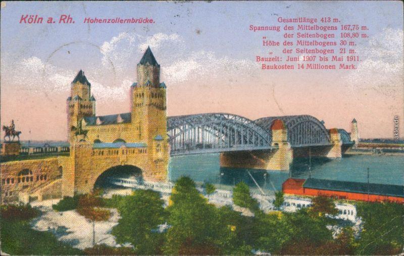 Ansichtskarte Köln Hohenzollernbrücke 1917