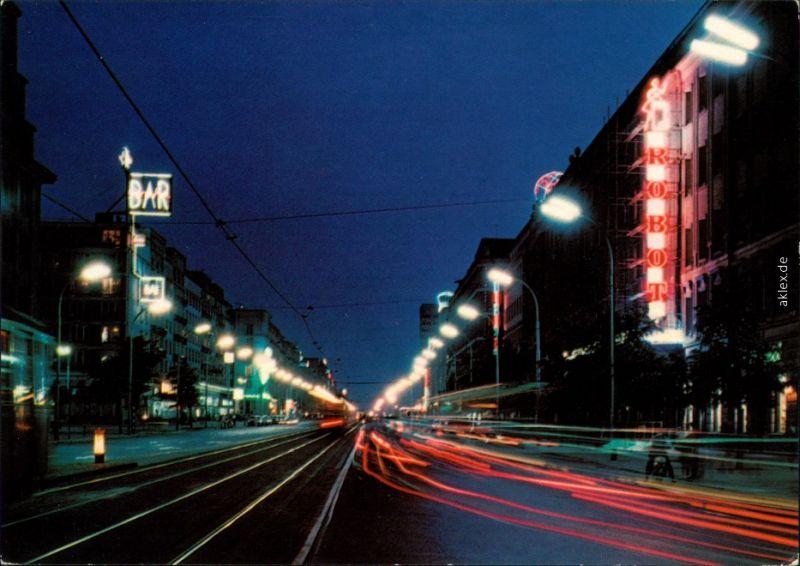 Warschau Warszawa Jerozolimskie-Allee/Aleje Jerozolimskie bei Nacht 1975