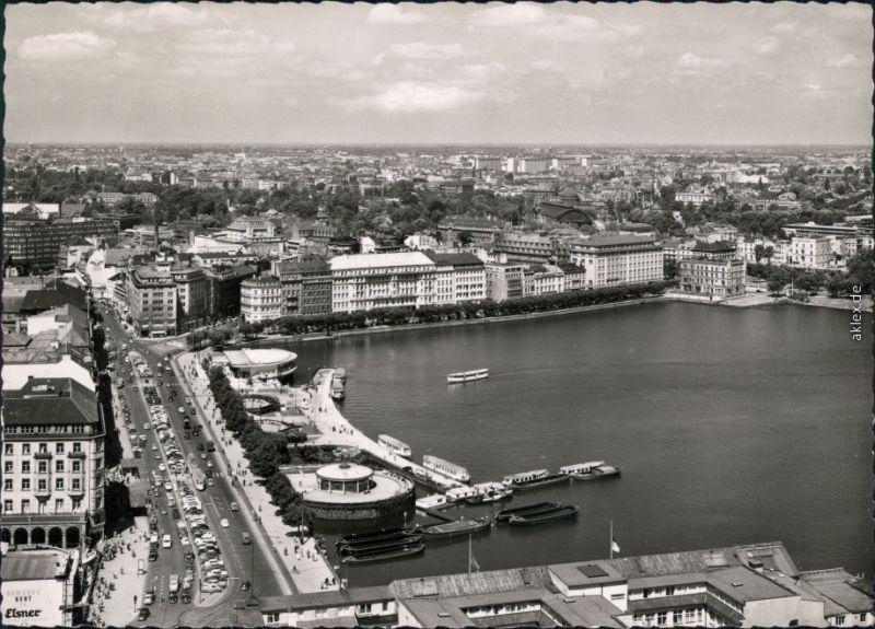 Ansichtskarte Altstadt-Hamburg Jungfernstieg und Binnenalster 1954