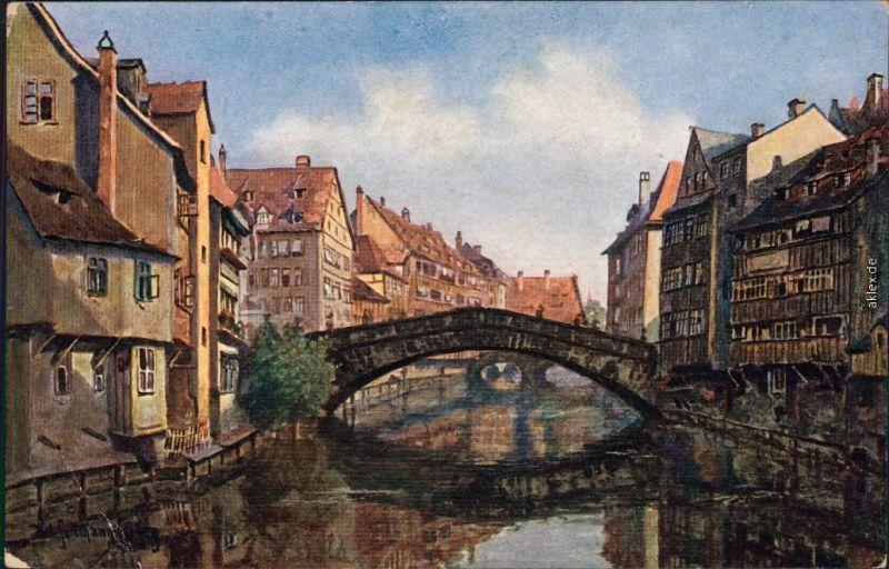 Ansichtskarte Nürnberg Fleischbrücke Künstlerkarte 1920
