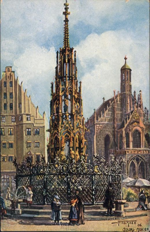 Ansichtskarte Nürnberg Schöner-Brunnen 1920