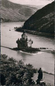 Ansichtskarte Kaub Blücherdenkmal und Pfalz 1955