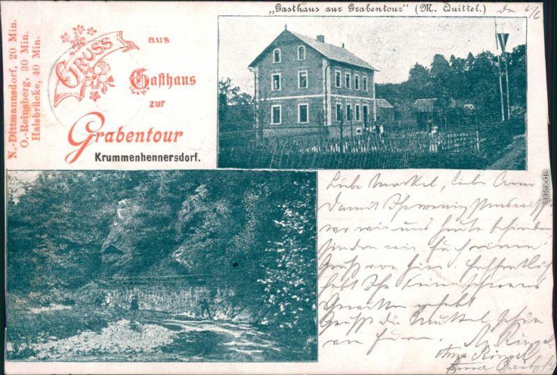 Krummenhennersdorf-Freiberg (Sachsen) Bild Gasthaus Grabentour 1900