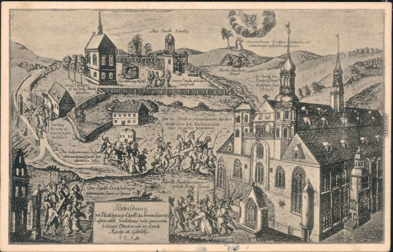 Ansichtskarte Görlitz Zgorzelec Das Heilige Grab - Kupferstich 1934
