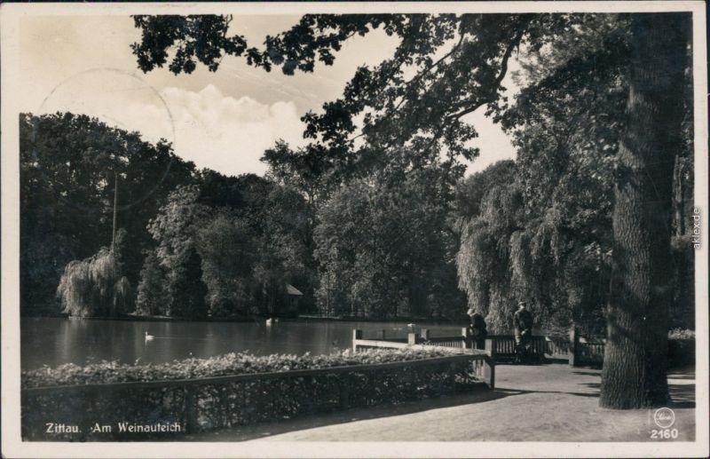 Ansichtskarte Zittau Anlagen am Weinauteich 1935
