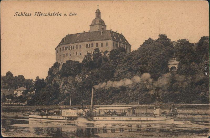 Ansichtskarte Hirschstein Dampfer Riesa vor Schloß Hirschstein 1914