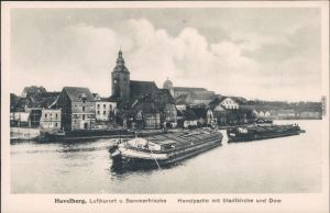 Ansichtskarte Havelberg Havelpartie, Stadt, Kähne 1922