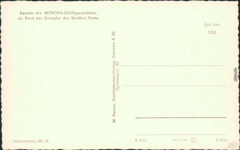 Ansichtskarte Rathen Sächsische Dampfschifffahrt (Weiße Flotte) 1960 1