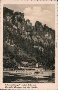 Rathen Basteifelsen (Sächsische Schweiz), Dampfer schifffahrt Weiße Flotte 1950