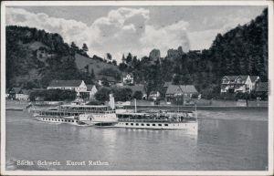 Ansichtskarte Rathen Sächsische Dampfschifffahrt (Weiße Flotte) 1944