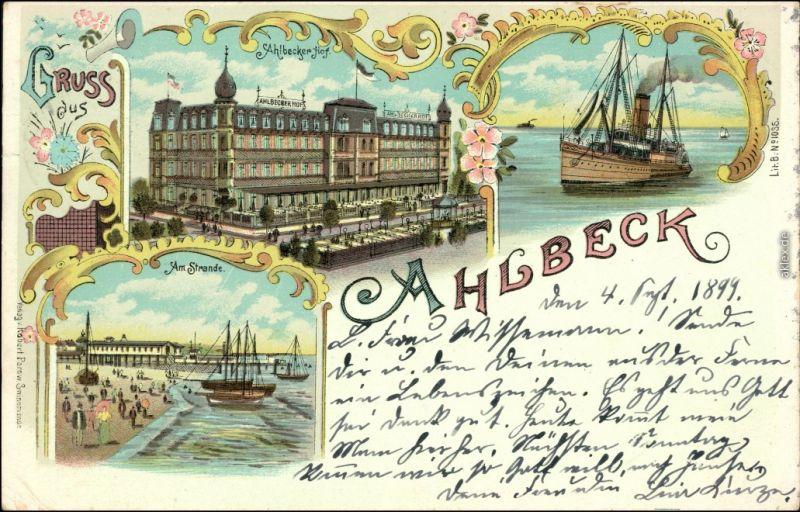 Ansichtskarte Ahlbeck (Usedom) Litho Ak: Ahlbecker Hof, Strand, Dampfer 1899