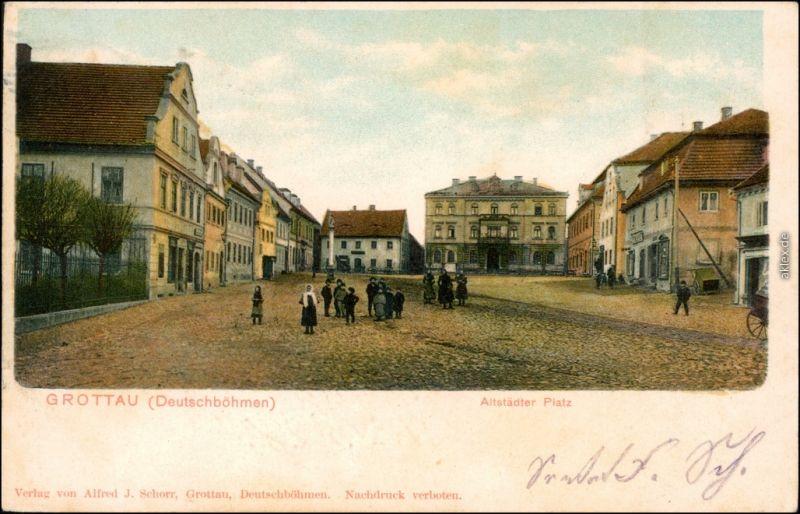 Ansichtskarte Grottau Hrádek nad Nisou Altstädter Platz 1903