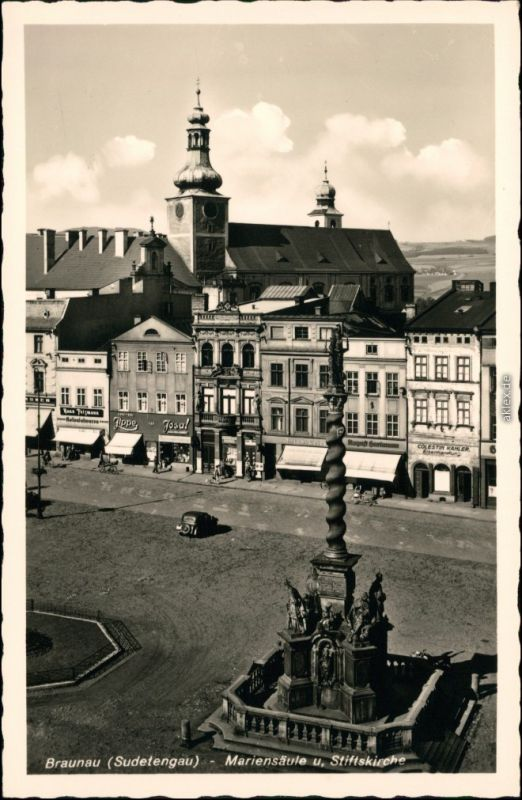 Braunau Broumov Markt - Geschäfte, Mariensäule und Stiftskirche 1932
