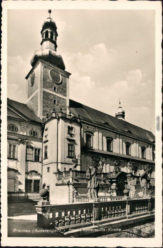 Ansichtskarte Braunau Broumov Benediktinerstift - Kirche 1932