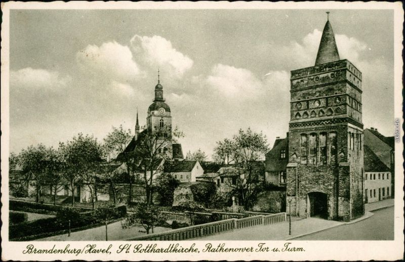 Brandenburg an der Havel St. Gothardtkirche, Rathenower Tor und Turm 1939