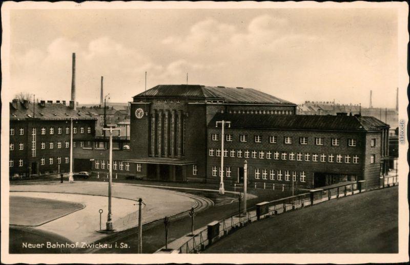 Ansichtskarte Zwickau Fabriken - Partie am Neuen Bahnhof 1933