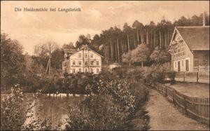 Ansichtskarte Langebrück-Dresden Partie an der Haidemühle 1914