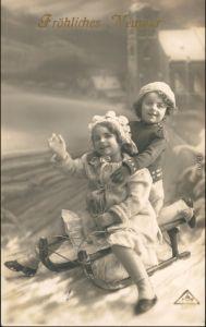 Ansichtskarte  Kinder, Schlittenfahrt - Neujahr 1912