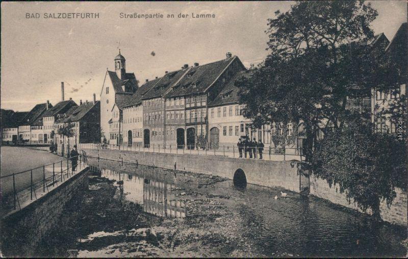Ansichtskarte Bad Salzdetfurth Straßenpartie an der Lamme 1922