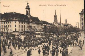 Innere Neustadt-Dresden Neustädter Markt, aufziehen der Wache 1917
