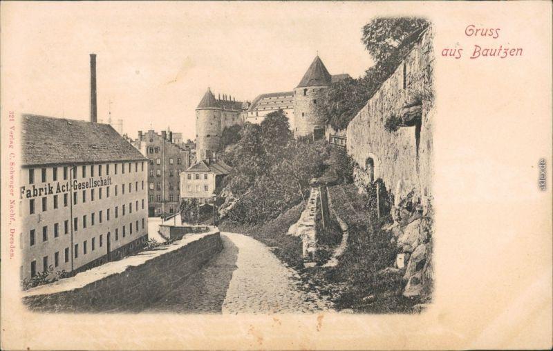 Ansichtskarte Bautzen Budyšin Partie an der Fabrik Actien-Gesellschaft 1908