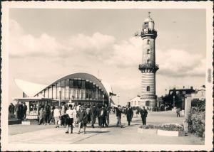 Ansichtskarte Warnemünde-Rostock Gaststätte Teepott und Leuchtturm 1969