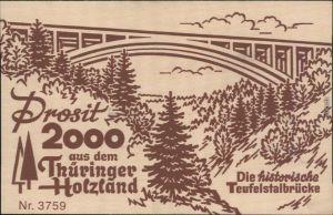 Ansichtskarte Hermsdorf (Thüringen) Holzkarte - Teufelstalbrücke 1999