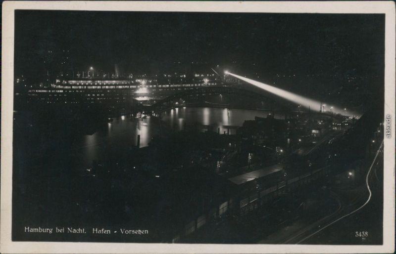 Ansichtskarte Hamburg Hafen bei Nacht 1932