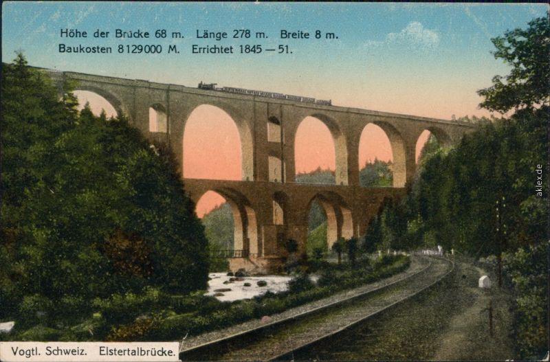 Ansichtskarte Jocketa-Pöhl Elstertalbrücke 1917