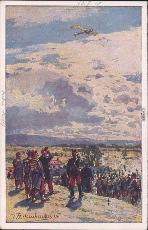 Ansichtskarte  Beschießung einer deutschen Taube Militaris Wk1 1915