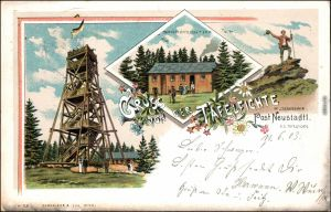 Neustadt an der Tafelfichte Nové Město pod Smrkem Litho AK: Gruss aus   1900