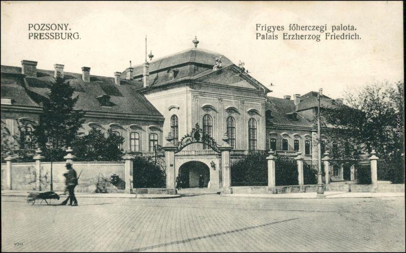 Pressburg Bratislava Straßenpartie Palais Herzog Friedrich 1913