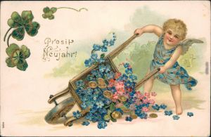 Ansichtskarte  Prosit Neujahr, Gold -Engel, Kleeblatt 1904 Prägekarte