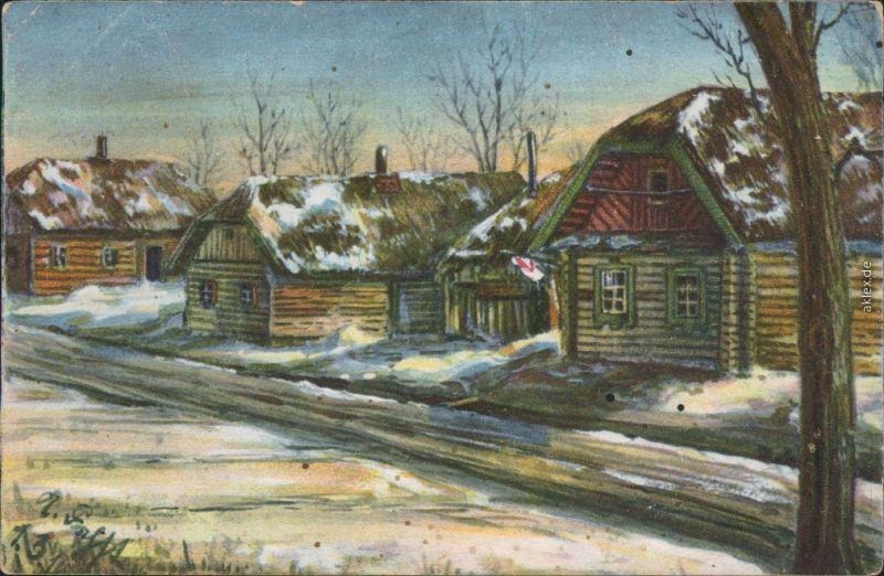 Ansichtskarte  Künstlerkarte: Militaria WK1 russisches Dorf 1916