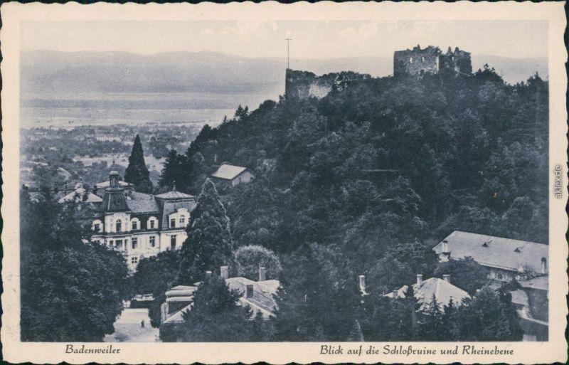 Ansichtskarte Badenweiler Burg Badenweiler (Schlossruine) und Rheinebene 1930